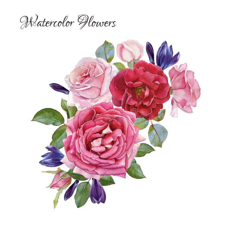 η μαύρη κάρτα χρωμάτισε το floral λευκό ίριδων λουλουδιών Ανθοδέσμη των τριαντάφυλλων και των κρόκων watercolor απεικόνιση αποθεμάτων