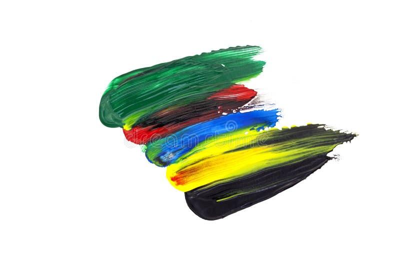 η μαύρη, κίτρινη, μπλε, κόκκινη, πράσινη βούρτσα κτυπά το ελαιόχρωμα που απομονώνεται επάνω στοκ εικόνα