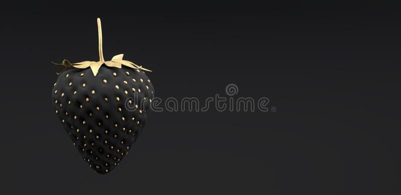 Η μαύρη και χρυσή φράουλα στο μαύρο υπόβαθρο τρισδιάστατο δίνει διανυσματική απεικόνιση
