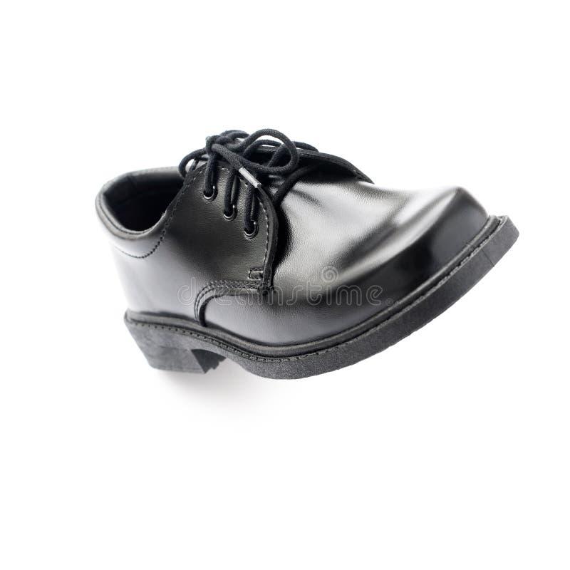 Η μαύρη νέα προοπτική παπουτσιών δέρματος απομόνωσε το λευκό στοκ εικόνες