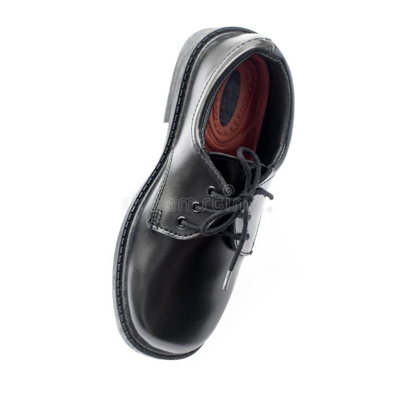 Η μαύρη νέα προοπτική παπουτσιών δέρματος απομόνωσε το λευκό στοκ φωτογραφίες