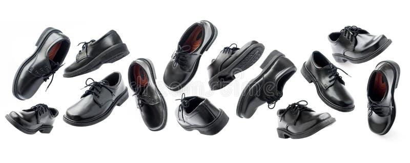 Η μαύρη νέα προοπτική παπουτσιών δέρματος απομόνωσε το λευκό στοκ φωτογραφία με δικαίωμα ελεύθερης χρήσης