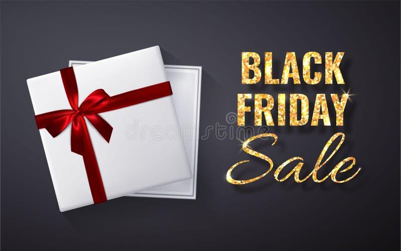 Η μαύρη πώληση Παρασκευής χρυσή ακτινοβολεί σπινθήρισμα Ανοικτό άσπρο κόκκινο χρυσό τόξο κιβωτίων δώρων και τοπ άποψη κορδελλών ε διανυσματική απεικόνιση