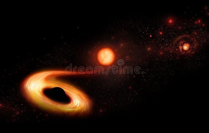 Η μαύρη τρύπα τρώει το αστέρι διανυσματική απεικόνιση