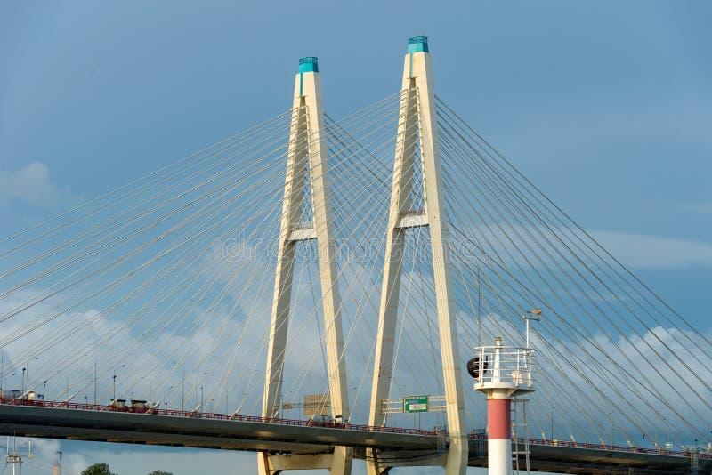 Η μεγάλη γέφυρα Obukhov στοκ εικόνα