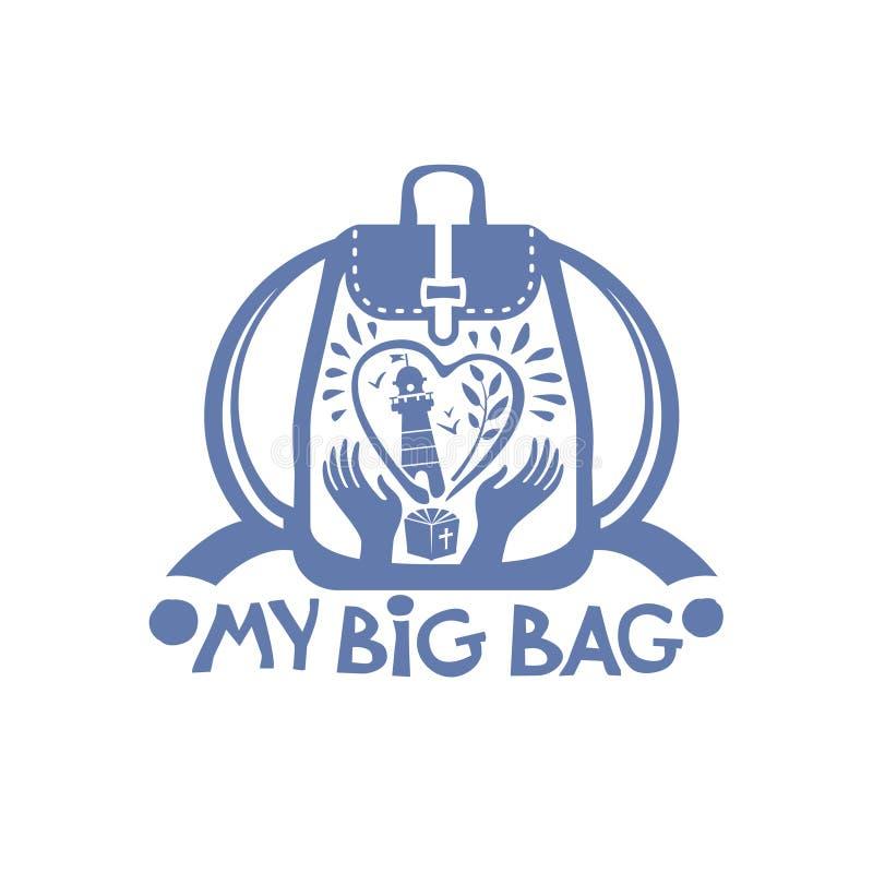 Η μεγάλη τσάντα μου Στο σακίδιο πλάτης καρδιών με έναν φάρο, τα πουλιά και τον κλαδίσκο θάλασσας διανυσματική απεικόνιση