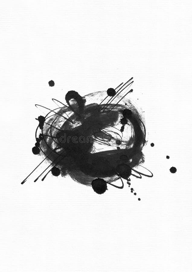 Η μεγάλη κοκκώδης αφηρημένη απεικόνιση με το μαύρο κύκλο μελανιού, το χέρι που σύρονται με τη βούρτσα και το υγρό μελανώνουν σε χ απεικόνιση αποθεμάτων