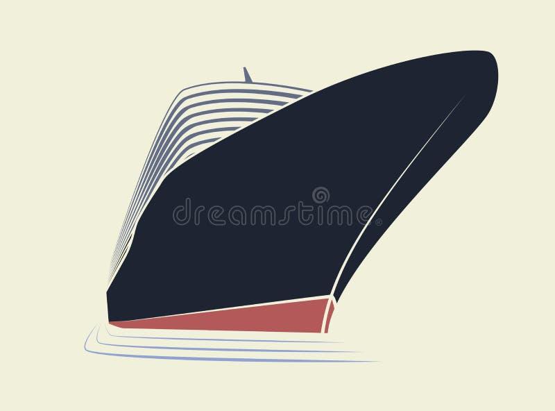 Η μεγάλη μύτη ενός σκάφους της γραμμής κρουαζιέρας Απλό σκάφος λογότυπων στη μαρίνα Άποψη από το κατώτατο σημείο επάνω απεικόνιση αποθεμάτων