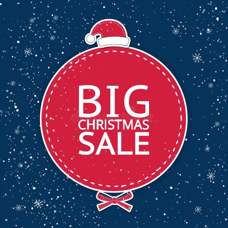 Η μεγάλη πώληση ` Χριστουγέννων επιγραφής ` στον κόκκινο κύκλο σε ένα μπλε υπόβαθρο διανυσματική απεικόνιση