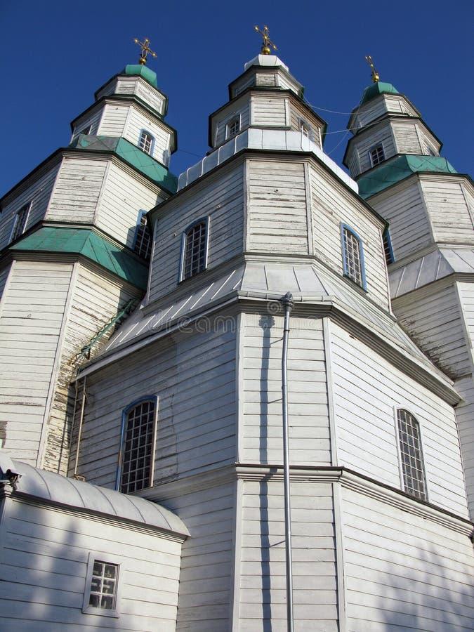 Η μεγαλύτερη ξύλινη εκκλησία της Ουκρανίας, ιερός καθεδρικός ναός τριάδας σε Novomoskovsk στοκ φωτογραφία με δικαίωμα ελεύθερης χρήσης