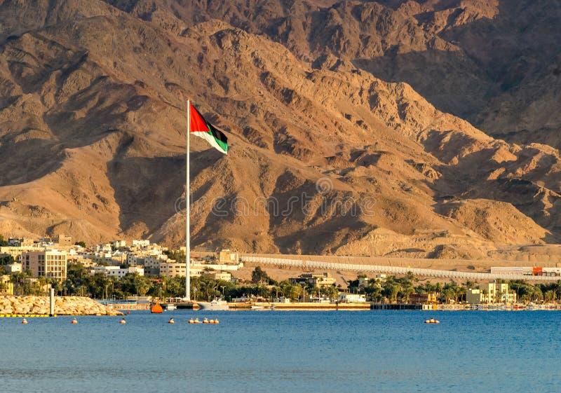 Η μεγαλύτερη σημαία στη Μέση Ανατολή, Άκαμπα, Ιορδανία στοκ εικόνες με δικαίωμα ελεύθερης χρήσης