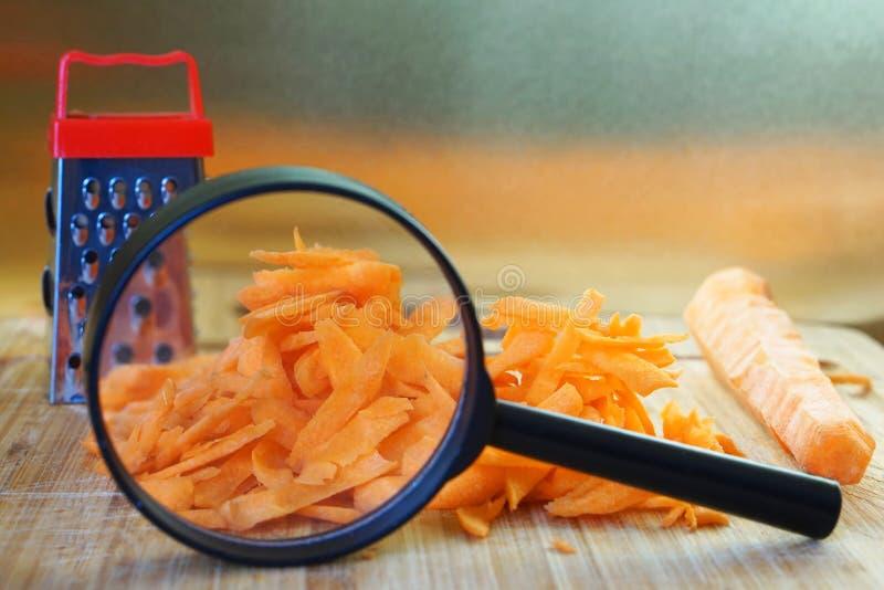 Η μελέτη της ποιότητας τροφίμων Ανάλυση των χαρακτηριστικών και της σύνθεσης των ξυμένων καρότων Ενίσχυση - γυαλί Γενετικός στοκ φωτογραφία με δικαίωμα ελεύθερης χρήσης