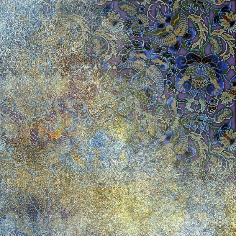 Η μεταλλική μίμηση, αφαιρεί το shabby χρωματισμένο υπόβαθρο, floral π ελεύθερη απεικόνιση δικαιώματος