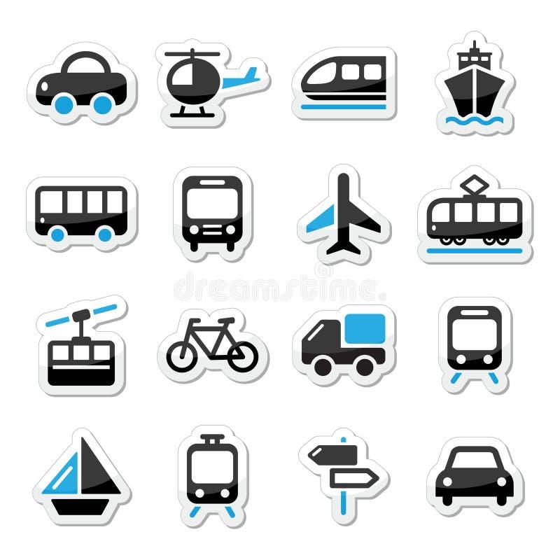 Η μεταφορά, εικονίδια ταξιδιού καθορισμένα στο λευκό διανυσματική απεικόνιση