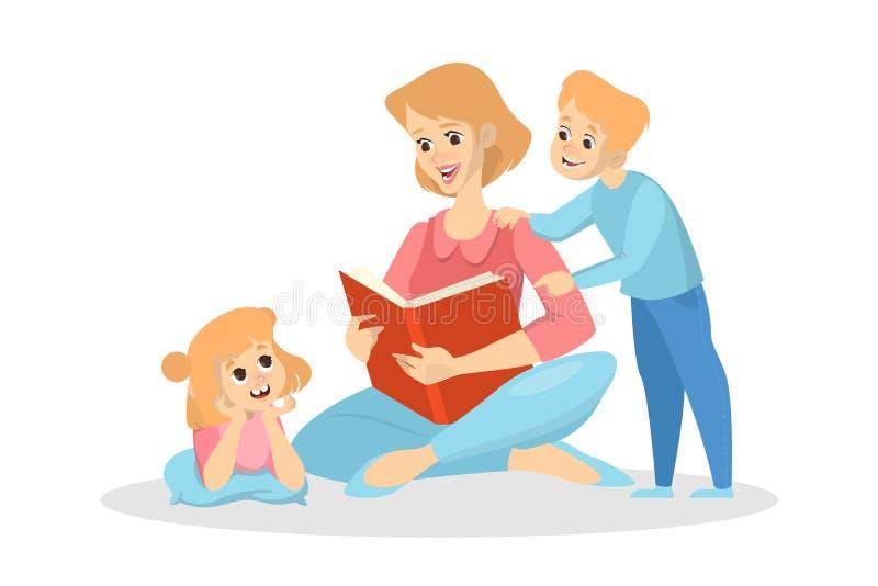 Η μητέρα διάβασε ένα βιβλίο για τα παιδιά Κορίτσι και αγόρι διανυσματική απεικόνιση