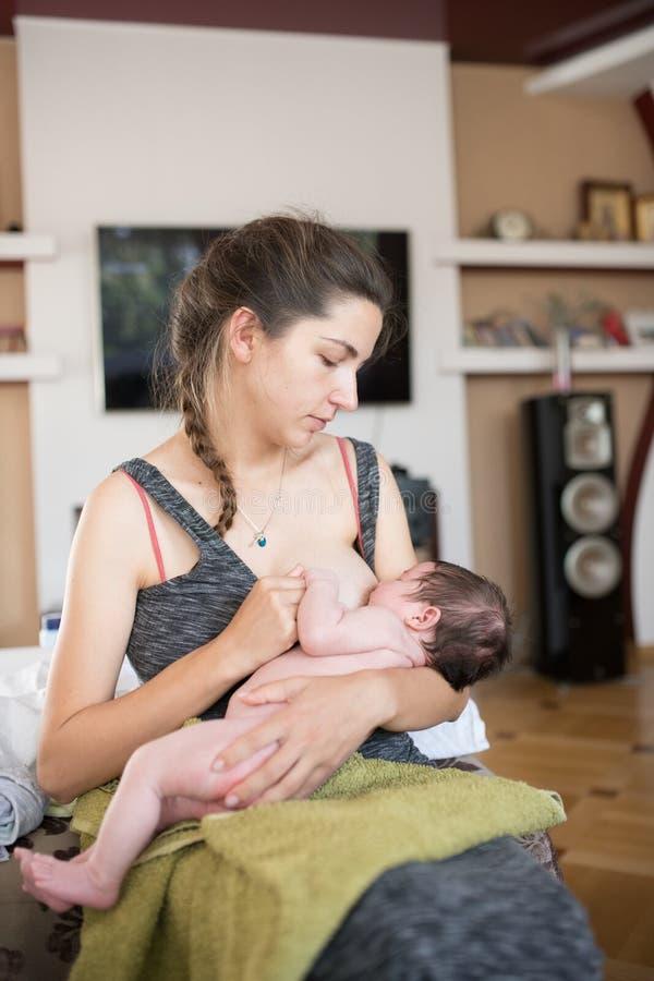 Η μητέρα θηλάζει το μωρό Μητέρα που θηλάζει το νεογέννητο μωρό της εκτός από το παράθυρο Το γάλα από το στήθος της μητέρας είναι  στοκ φωτογραφία