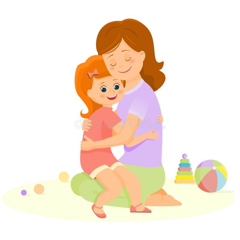 Η μητέρα και η κόρη κινούμενων σχεδίων αγκαλιάζουν διανυσματική απεικόνιση