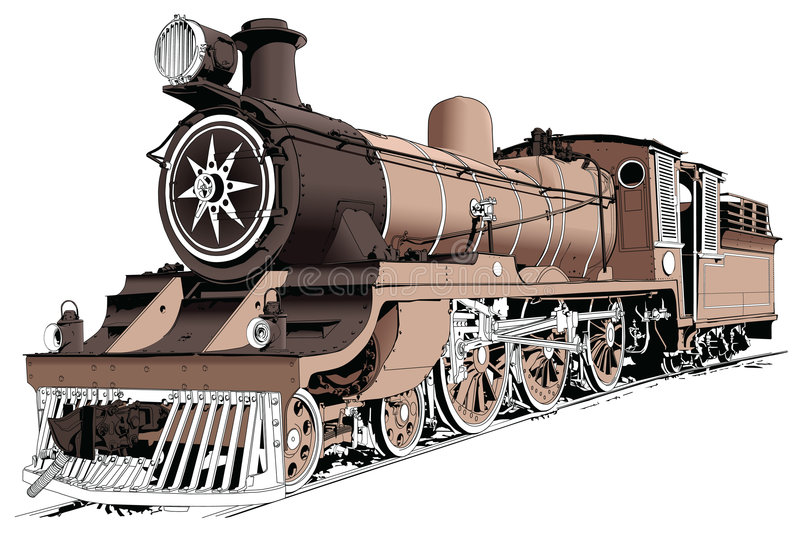 Η μηχανή ατμού τροφοδότησε το τραίνο ελεύθερη απεικόνιση δικαιώματος
