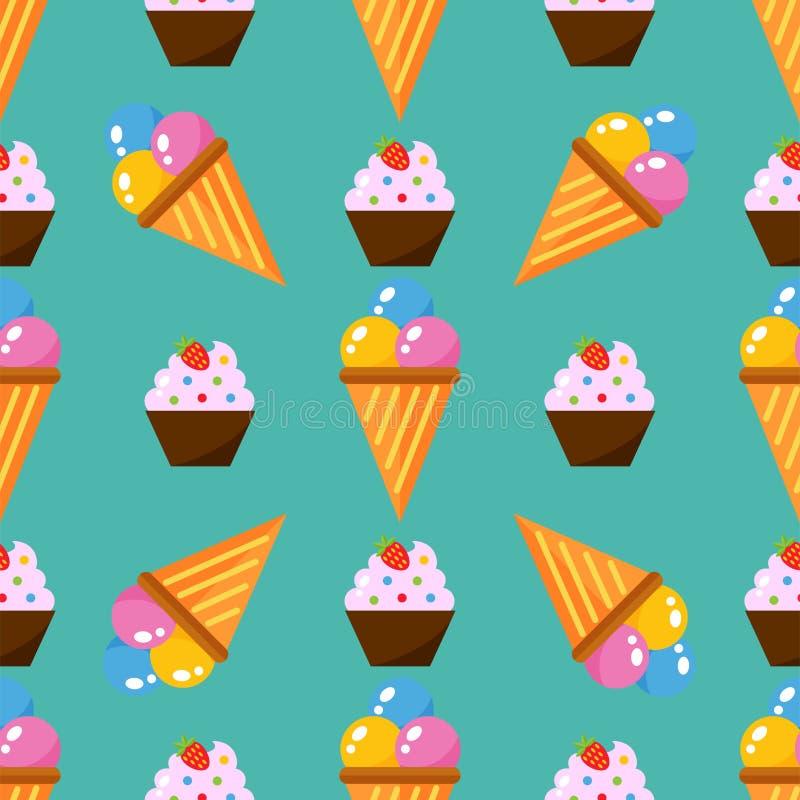 Η μικρή εύγευστη cupcakes γλυκιά κρέμα τροφίμων γιορτών γενεθλίων σχεδίων επιδορπίων άνευ ραφής ψεκάζει το πάγωμα του διανύσματος απεικόνιση αποθεμάτων