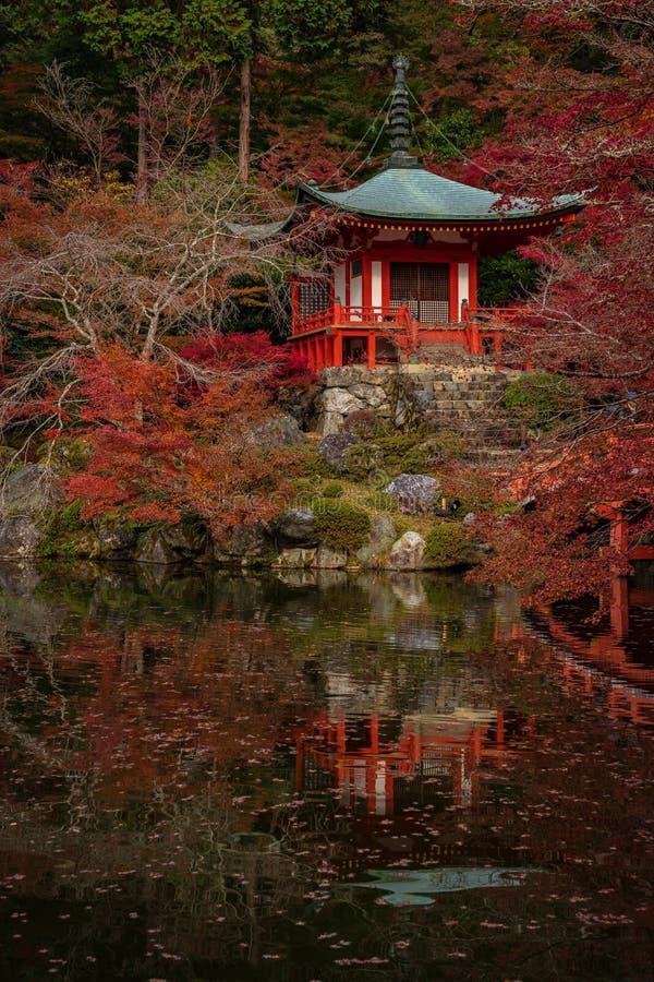 Η μικρή κόκκινη ιαπωνική λάρνακα με την αντανάκλασή του στη λίμνη στοκ φωτογραφία με δικαίωμα ελεύθερης χρήσης