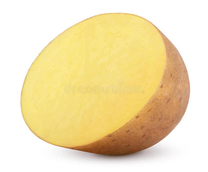 Η μισή από την πατάτα που απομονώνεται στο λευκό στοκ εικόνα