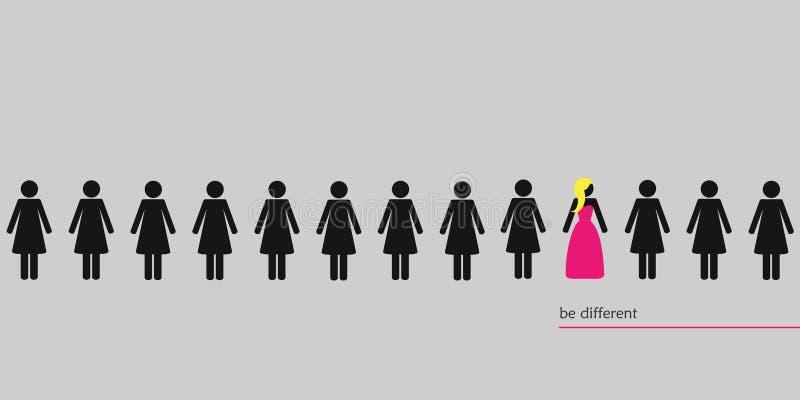 Η μοναδική γυναίκα στο πλήθος σκέφτεται τη διαφορετική έννοια διανυσματική απεικόνιση
