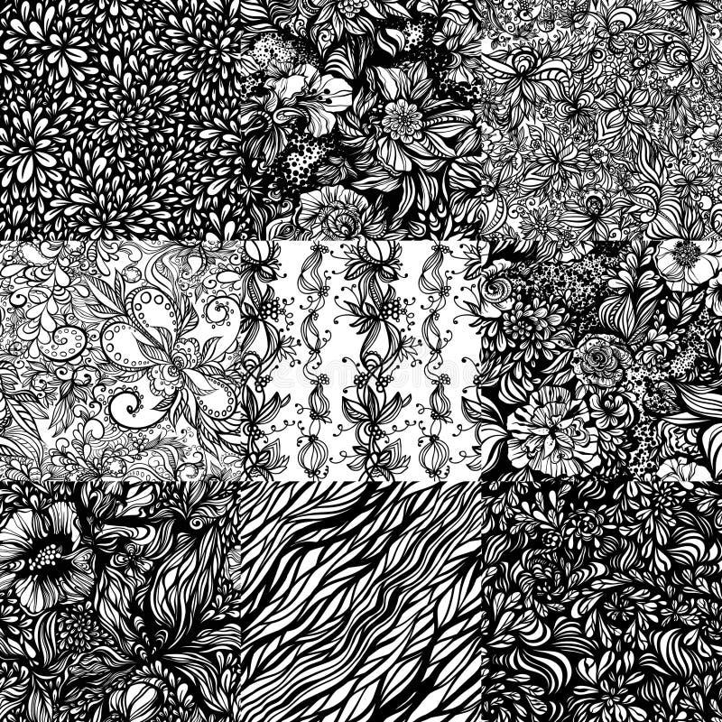 Η μονοχρωματική περίληψη συνόλου zentangle άνευ ραφής διανυσματική απεικόνιση