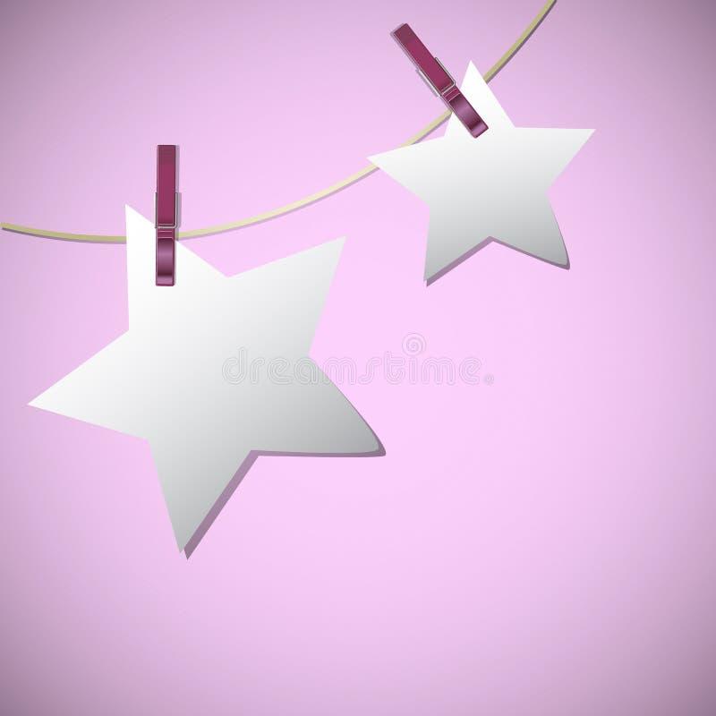 Η μορφή αστεριών των εγγράφων σημειώσεων κρεμά στη συμβολοσειρά με την καρφίτσα ενδυμάτων απεικόνιση αποθεμάτων