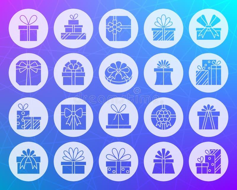 Η μορφή δώρων χάρασε το επίπεδο διανυσματικό σύνολο εικονιδίων ελεύθερη απεικόνιση δικαιώματος