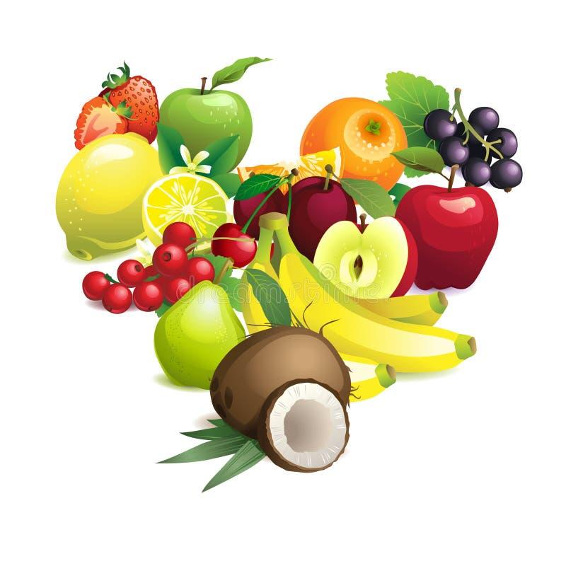 Η μορφή καρδιών περιέχει τα διαφορετικά φρούτα με τα φύλλα και τα λουλούδια ελεύθερη απεικόνιση δικαιώματος