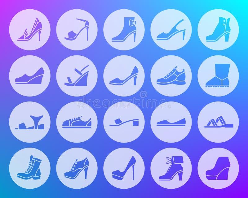 Η μορφή παπουτσιών χάρασε το επίπεδο διανυσματικό σύνολο εικονιδίων ελεύθερη απεικόνιση δικαιώματος