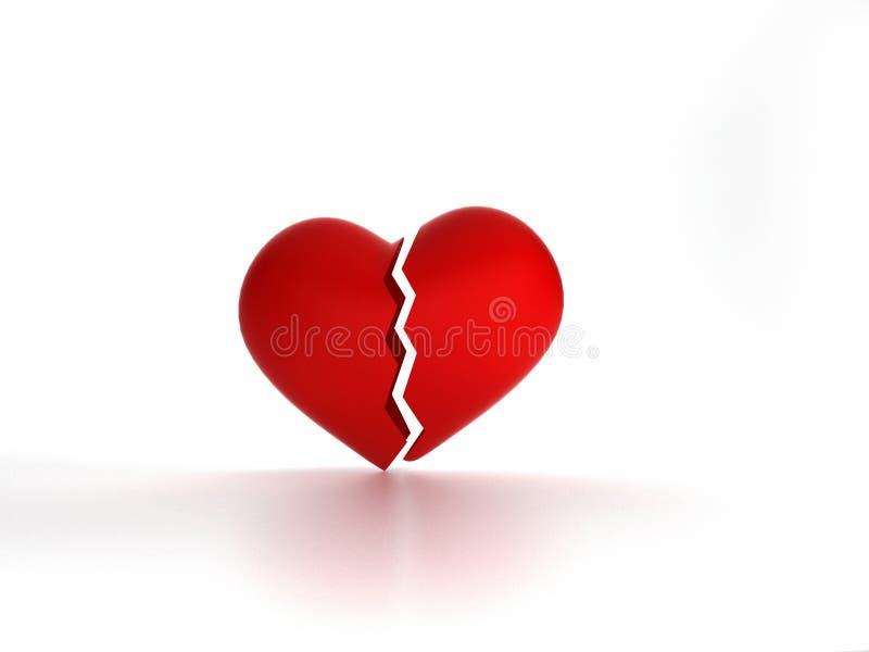 Η μορφή της κόκκινης σπασμένης καρδιάς στο άσπρο υπόβαθρο, τρισδιάστατο Ρ ελεύθερη απεικόνιση δικαιώματος