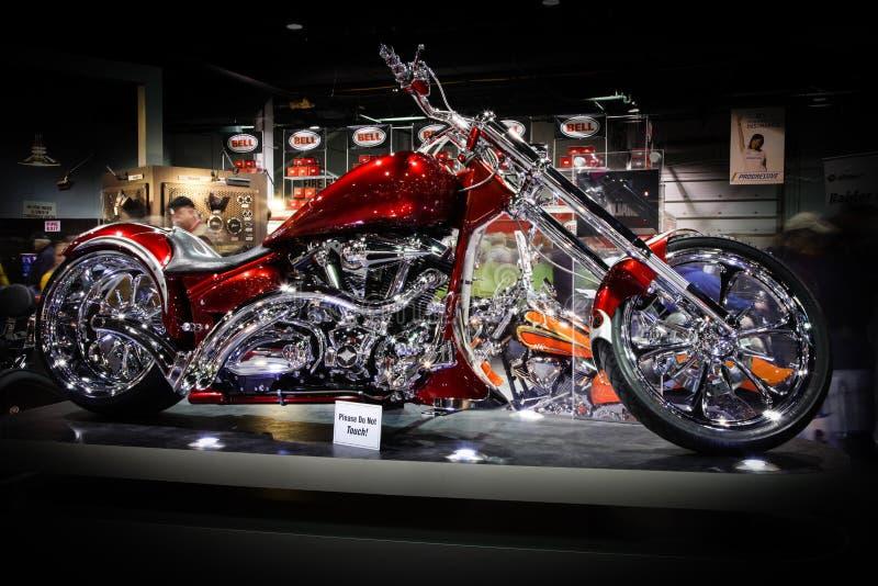 η μοτοσικλέτα του Σικάγου κόκκινη εμφανίζει στοκ εικόνες με δικαίωμα ελεύθερης χρήσης