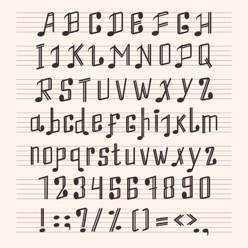 Η μουσική διακοσμητική τυπογραφία αποτελέσματος μουσικής σημαδιών χεριών πηγών αλφάβητου σημειώσεων abc glyph η διανυσματική απει απεικόνιση αποθεμάτων