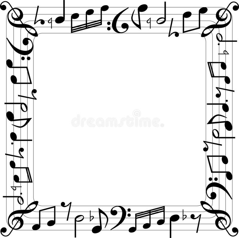 Η μουσική σημειώνει τα τετραγωνικά σύνορα κιβωτίων διανυσματική απεικόνιση