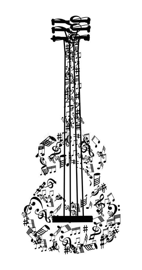 Η μουσική σημειώνει την κιθάρα διανυσματική απεικόνιση