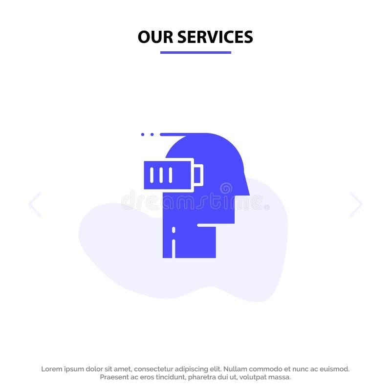 Η μπαταρία υπηρεσιών μας, εξαγωγή, χαμηλός, διανοητικός, στερεό πρότυπο καρτών Ιστού εικονιδίων Glyph μυαλού διανυσματική απεικόνιση