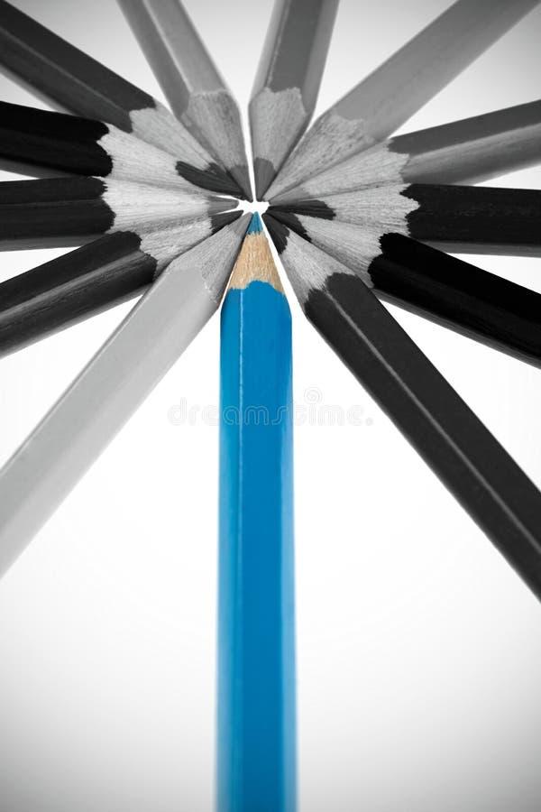 Η μπλε έννοια μολυβιών στοκ εικόνα