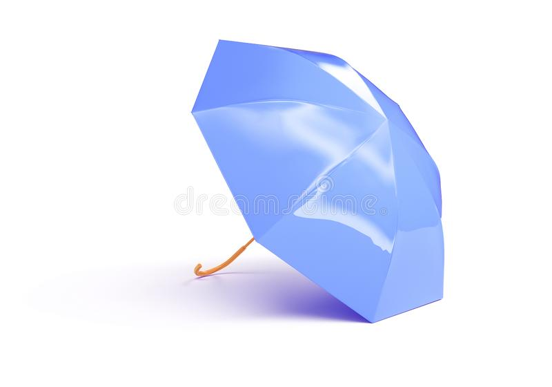 Η μπλε έννοια ομπρελών που δόθηκε απομόνωσε τρισδιάστατο δίνει διανυσματική απεικόνιση