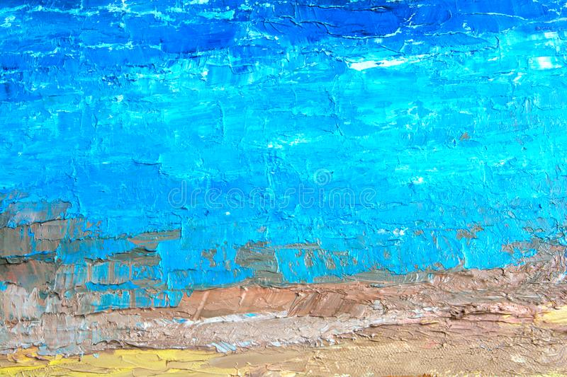Η μπλε ελαιογραφία, κλείνει επάνω Ελαιούχος ζωγραφική στον καμβά Ελαιούχος ζωγραφική στον καμβά Τεμάχιο painting textured o στοκ εικόνες
