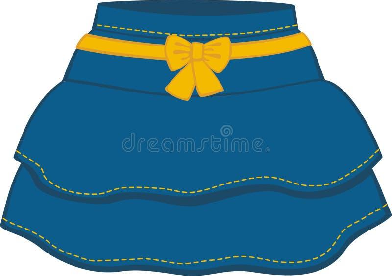 Η μπλε φούστα με ένα κίτρινο τόξο διανυσματική απεικόνιση