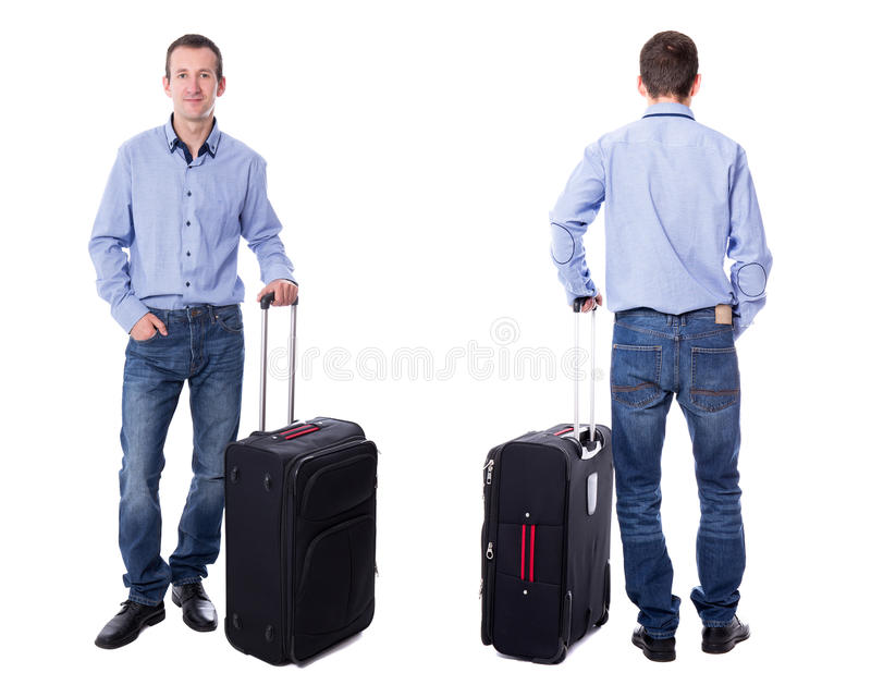 Η μπροστινή και πίσω άποψη του μέσου ηλικίας επιχειρησιακού ατόμου με τη βαλίτσα είναι στοκ φωτογραφίες με δικαίωμα ελεύθερης χρήσης