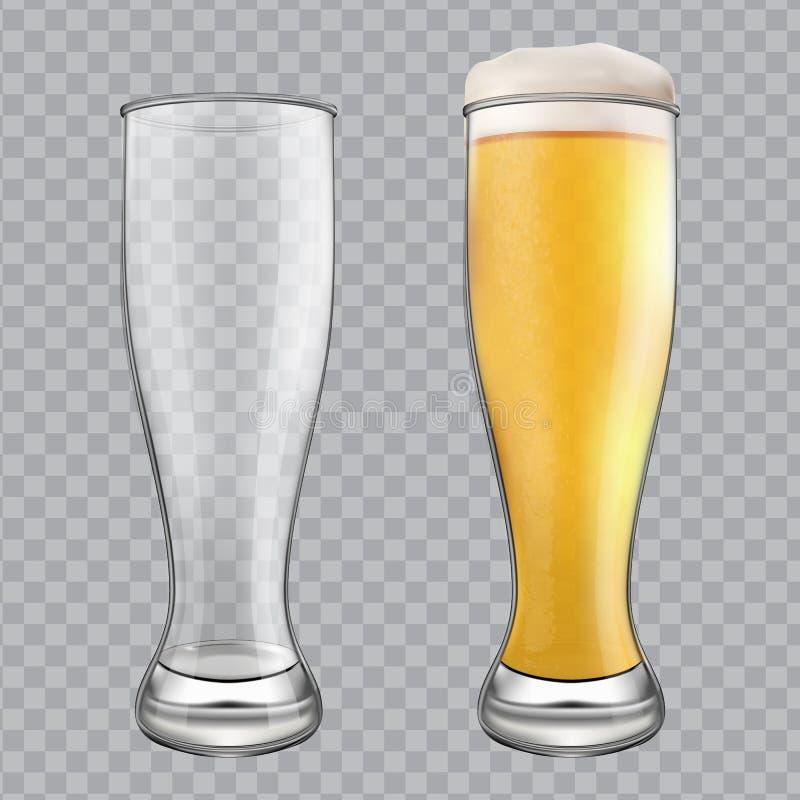 η μπύρα ήφρισε τα πλήρη γυαλιά ένα δύο γυαλιού επάνω Μια κενή κούπα και μια πλήρης κούπα ελεύθερη απεικόνιση δικαιώματος