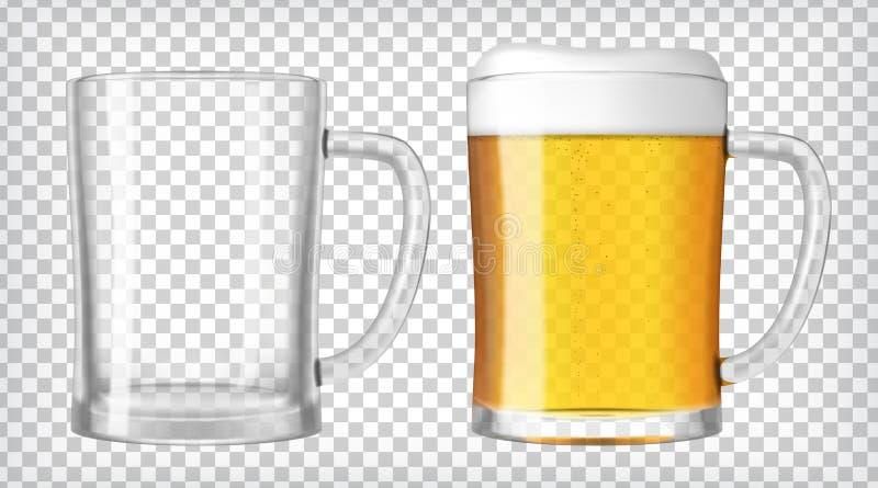 η μπύρα ήφρισε τα πλήρη γυαλιά ένα δύο γυαλιού επάνω απεικόνιση αποθεμάτων