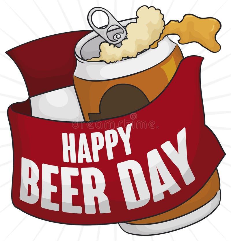 Η μπύρα μπορεί με την κορδέλλα και το ημερολόγιο χαιρετισμού για την ημέρα μπύρας, διανυσματική απεικόνιση ελεύθερη απεικόνιση δικαιώματος