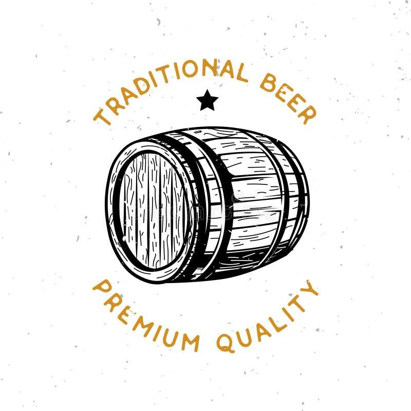 Η μπύρα το λογότυπο με το ξύλινο βαρέλι μπύρας διανυσματική απεικόνιση