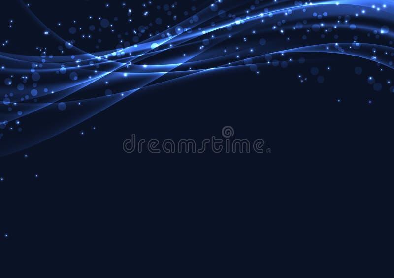 Η μπλε μαγική περίληψη Χριστουγέννων ακτινοβολεί υπόβαθρο διανυσματική απεικόνιση