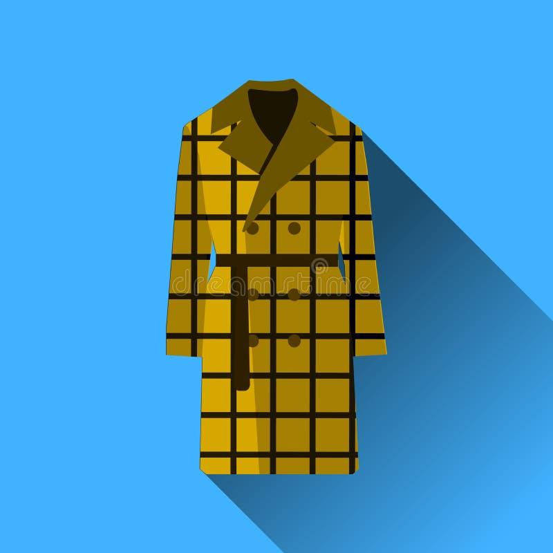 Η μόδα εικονιδίων ντύνει το μακρύ παλτό με τη μακριά σκιά στην μπλε απεικόνιση σχεδίου υποβάθρου επίπεδη απεικόνιση αποθεμάτων