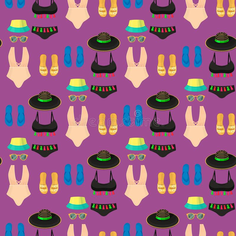 Η μόδα υφασμάτων μπικινιών Beachwear φαίνεται διακοπών άνευ ραφής σχεδίων υποβάθρου διάνυσμα ενδυμάτων ομορφιάς θάλασσας ελαφρύ i διανυσματική απεικόνιση