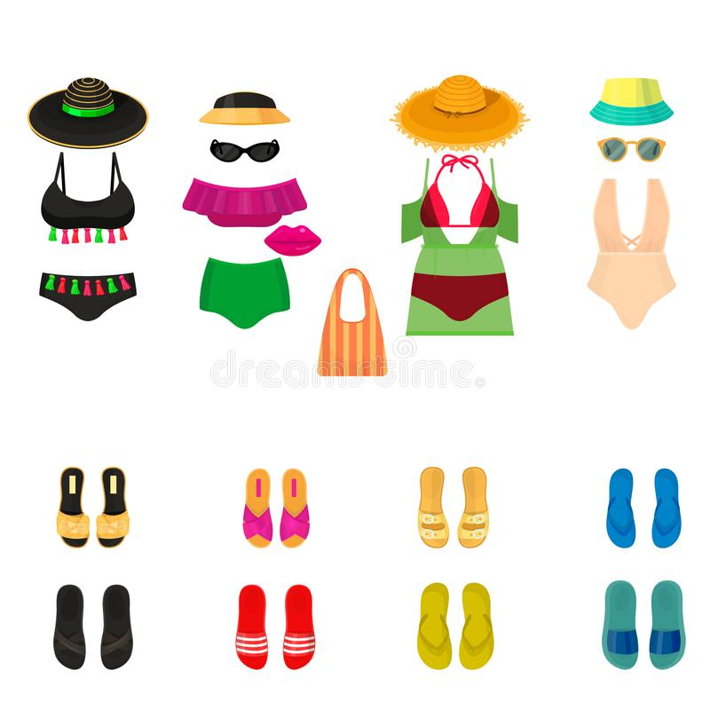 Η μόδα υφασμάτων μπικινιών Beachwear φαίνεται ελαφρύ διάνυσμα ενδυμάτων ομορφιάς θάλασσας συλλογής γυναικών τρόπου ζωής διακοπών  ελεύθερη απεικόνιση δικαιώματος
